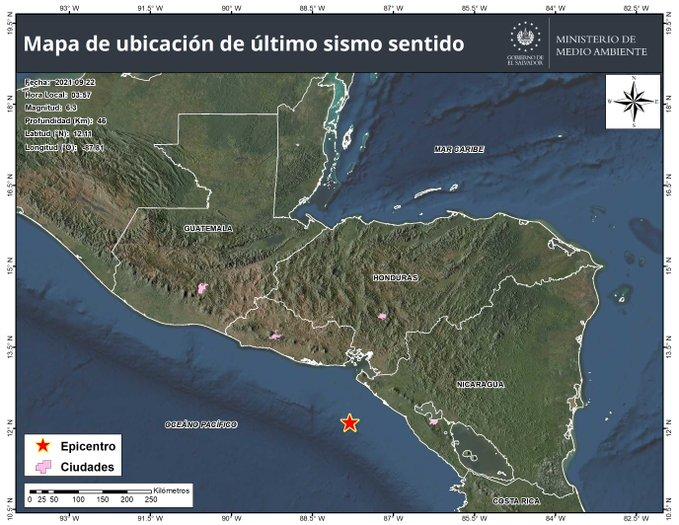 seis sismos han sido sentidos en El Salvador este miércoles 22 de septiembre